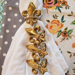 Other - 6 Brass Fleur de Lis Napkin Rings Gold Tone
